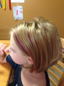 Purple stripes blended in. She loved it!