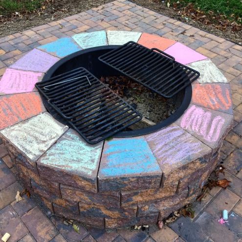 brick firepit colored rainbow colors with chalk in virginia