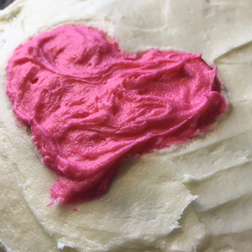 rainbow cake heart pink